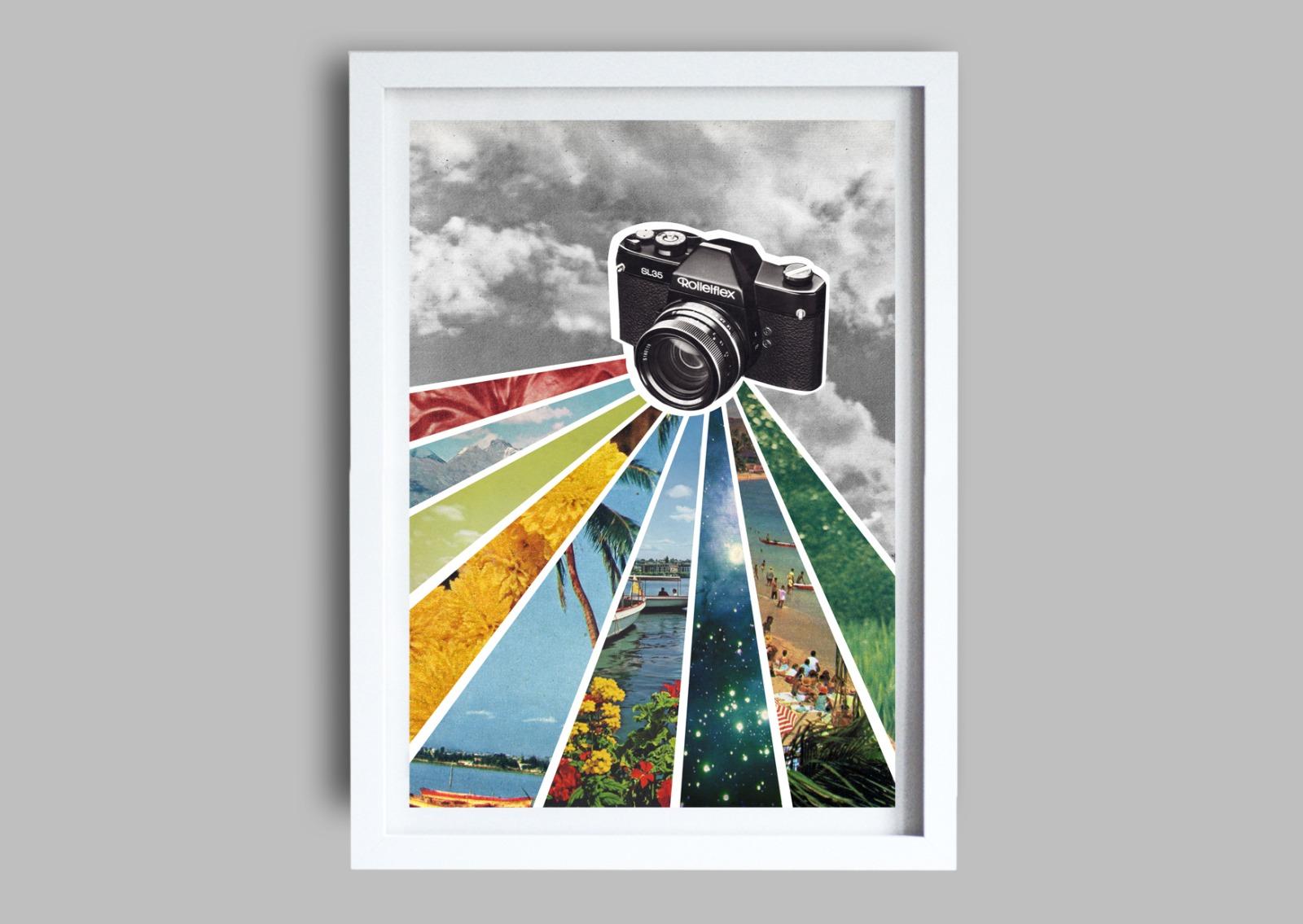 Analog Poster mit Kamera Kunstdruck A3