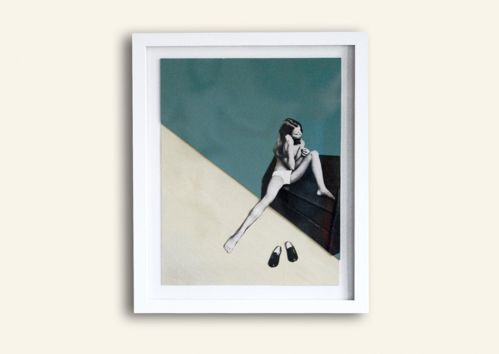 Maedchen mit Haarbuerste Collage Poster Kunstdruck A3