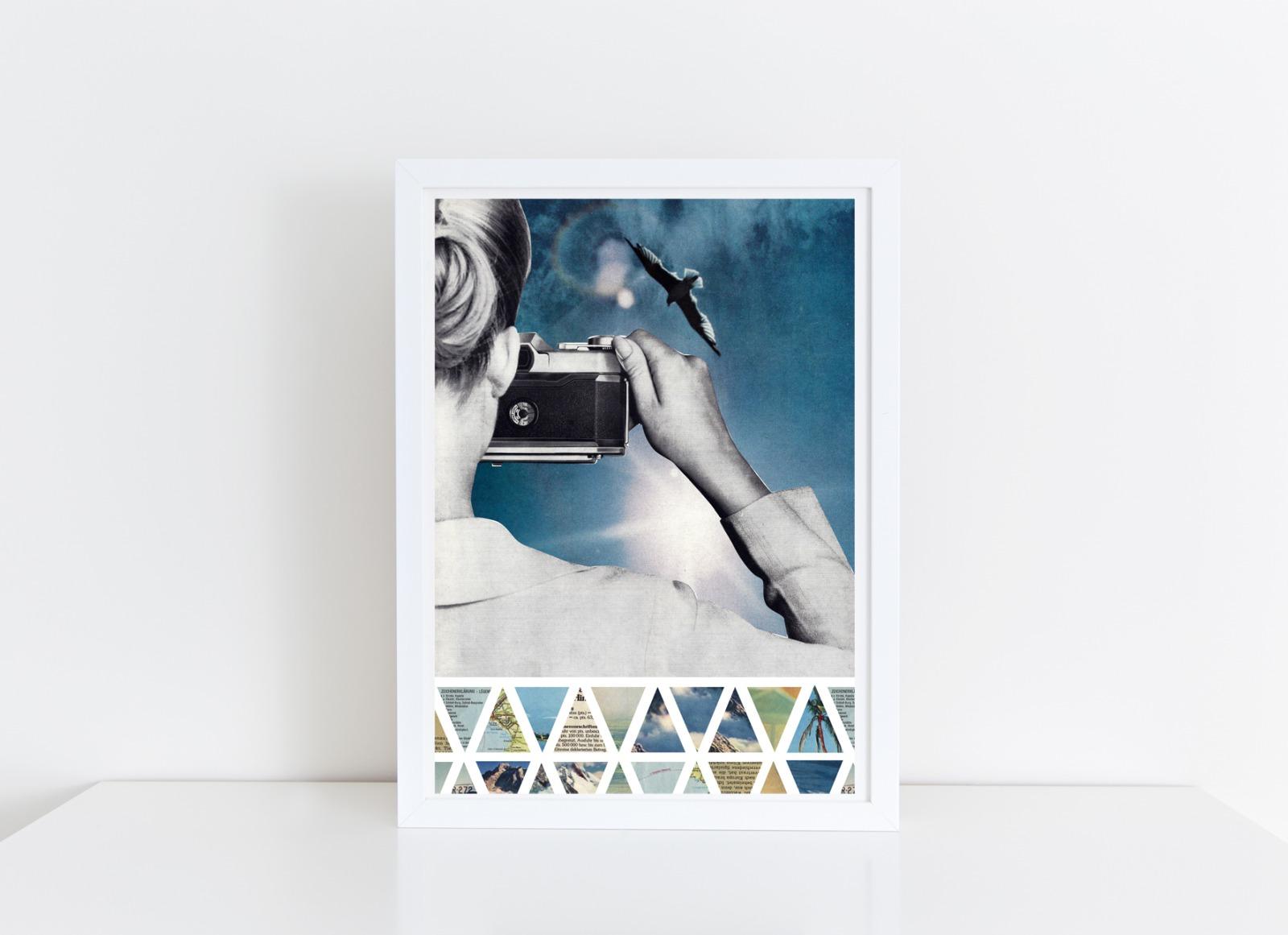 Gegenlicht Collage Poster Kunstdruck A4