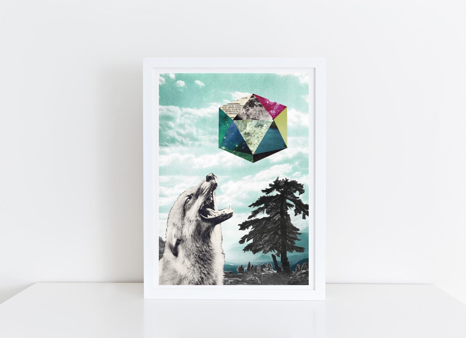 Mondsuechtig Collage Poster Kunstdruck A4