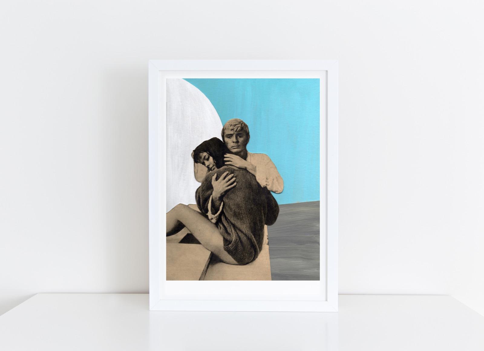 Der Retter Collage Poster Kunstdruck A4