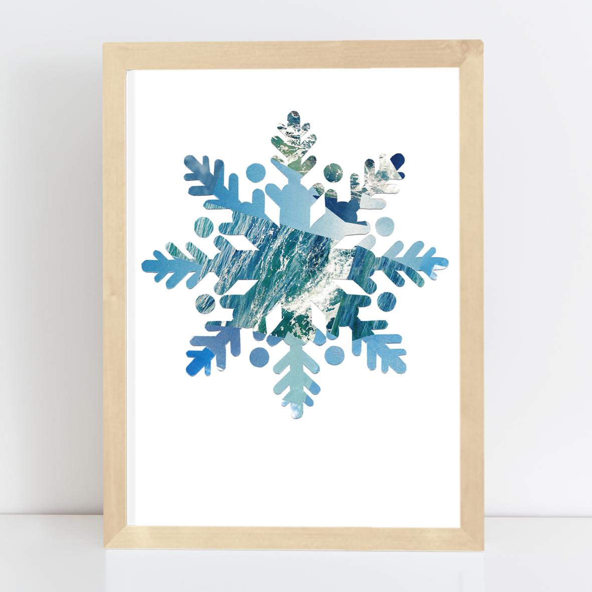 Poster Schneestern Nr.1 Kunstdruck Collage A4