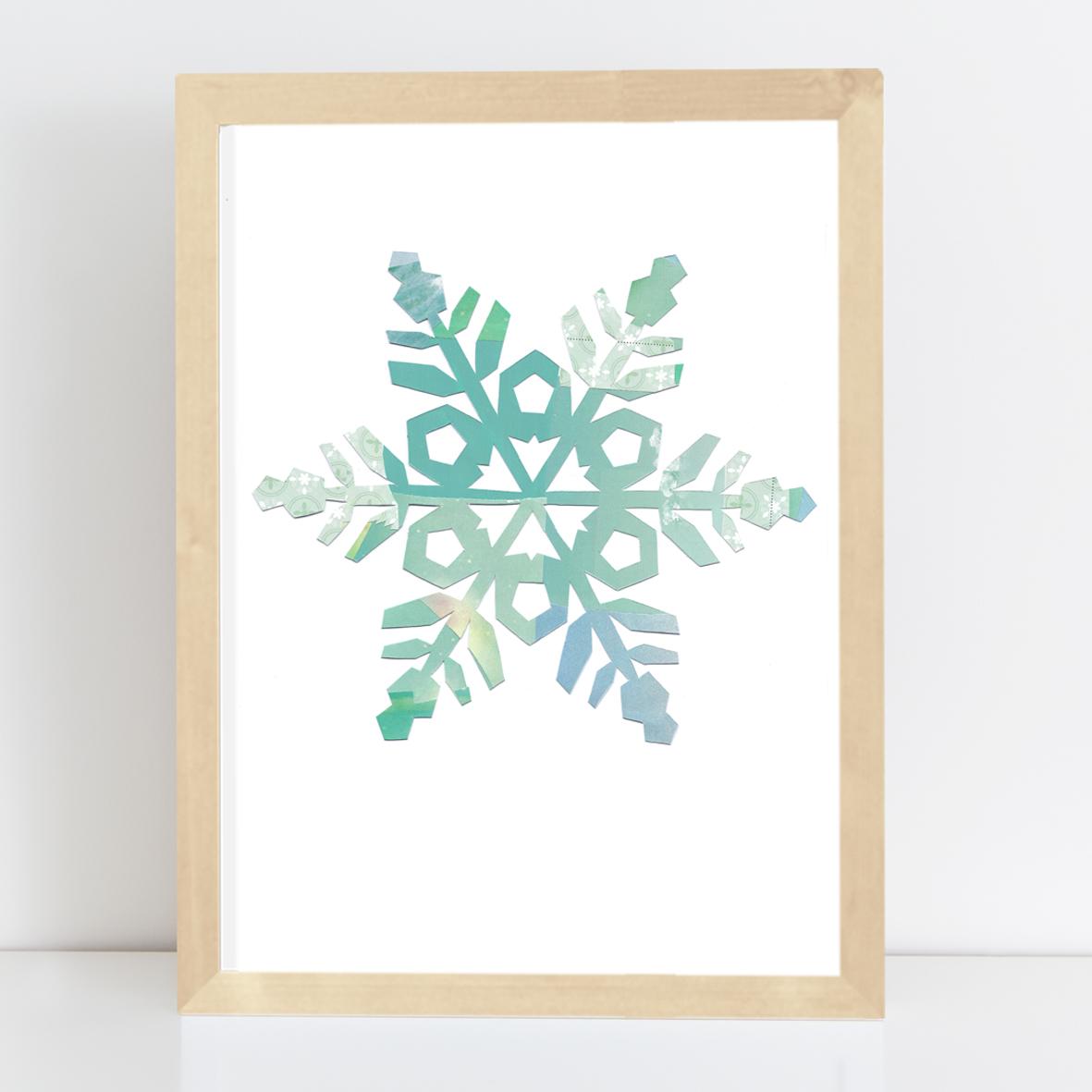 Poster Schneestern Nr.2 Kunstdruck Collage A4