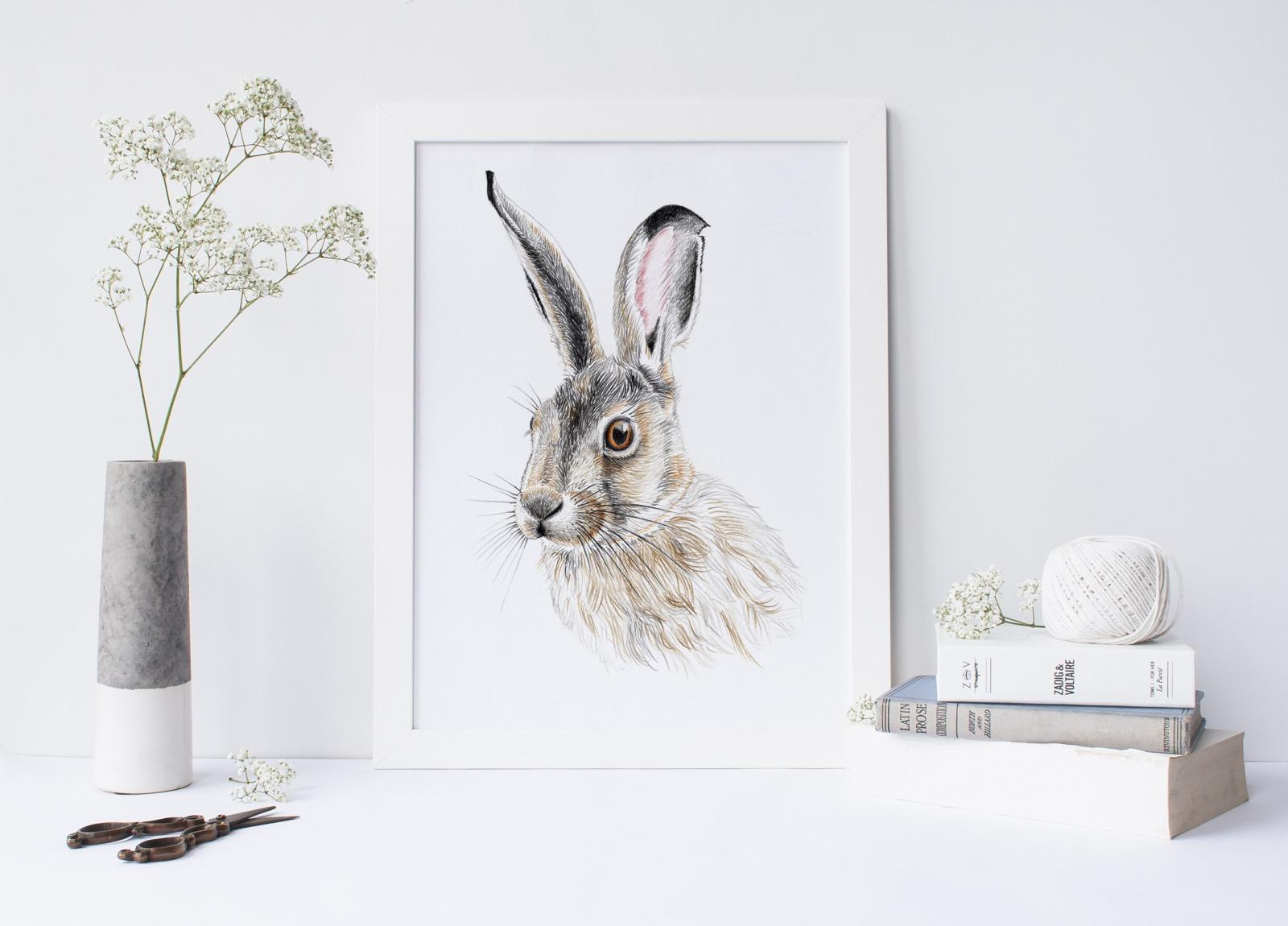 Zeichnung Hase Poster Kunstdruck A4 4