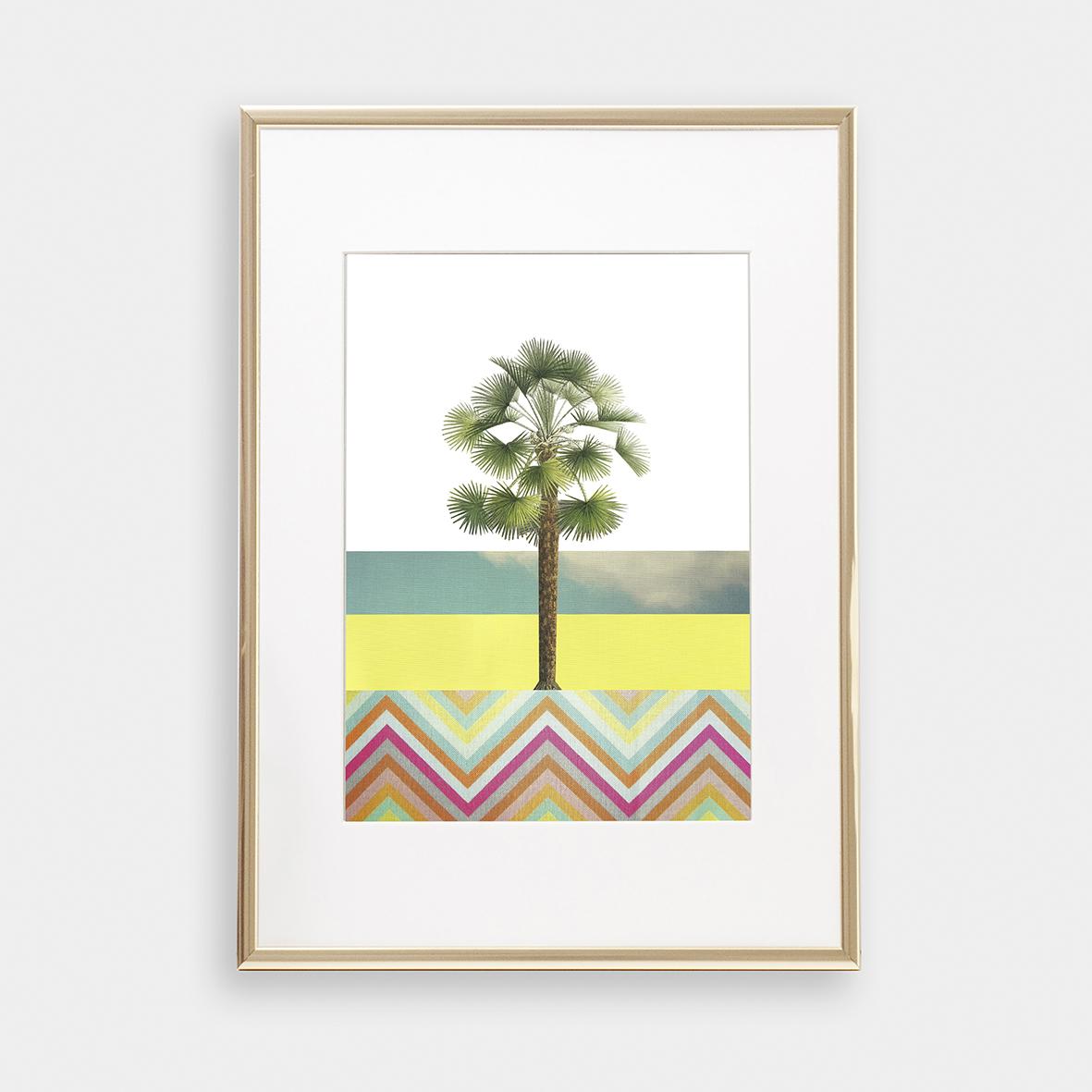 Palme 03 Collage Poster Palme Kunstdruck Palmenposter Pflanzenposter - 1