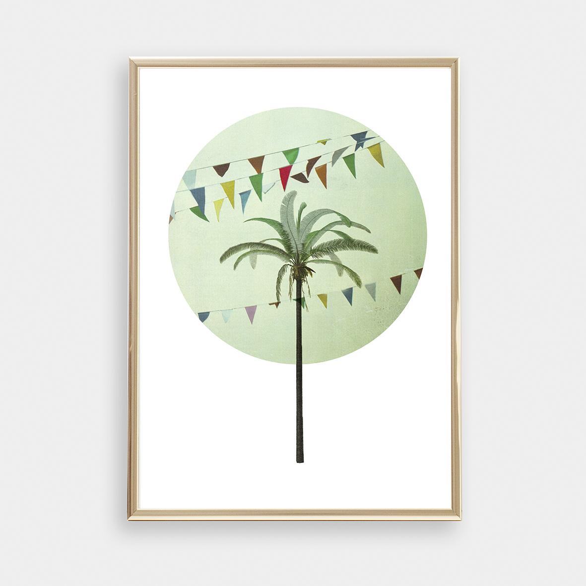 Palme Collage Poster Kunstdruck DIN A4
