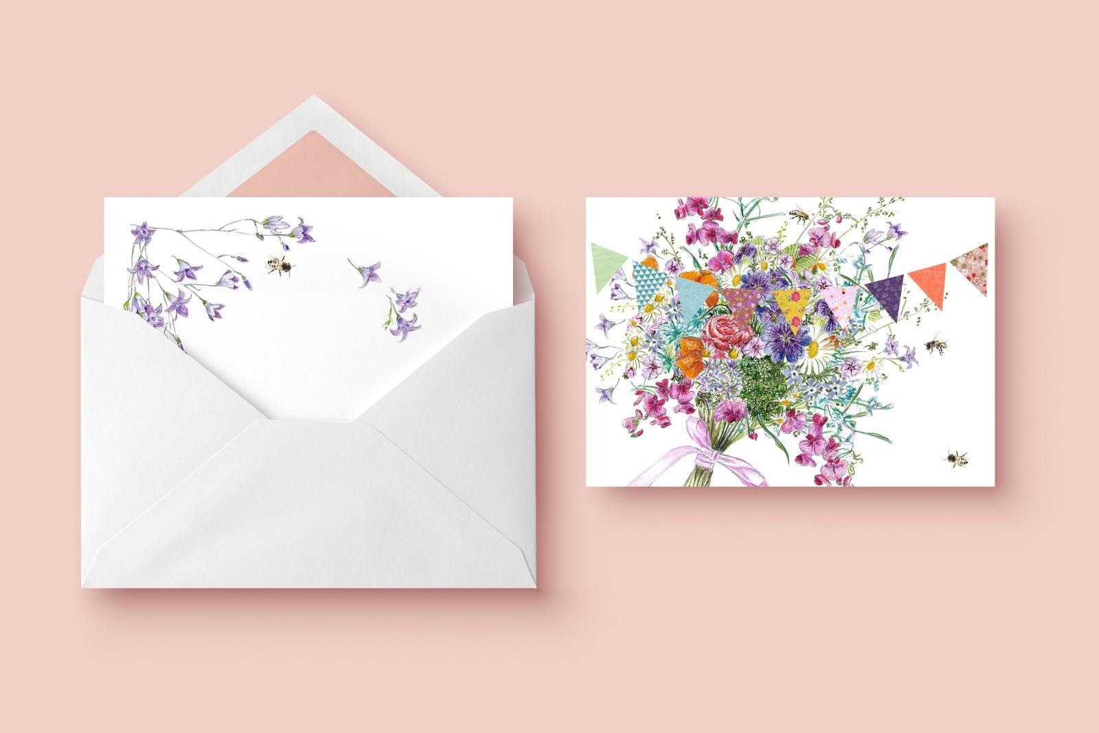 Grusskarte Sommerblumen Glueckwunschkarte