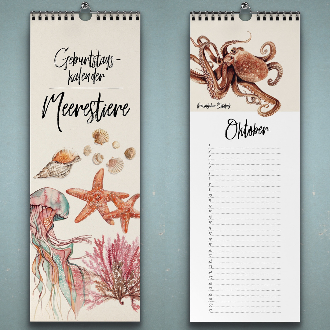 Geburtstagskalender Meerestiere Wandkalender Kunstkalender
