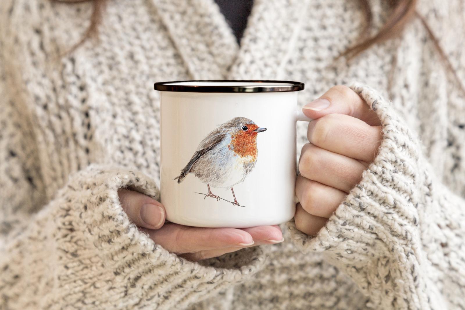 Emailletasse mit Vogelprint Emaillebecher Tasse Rotkehlchen - 2
