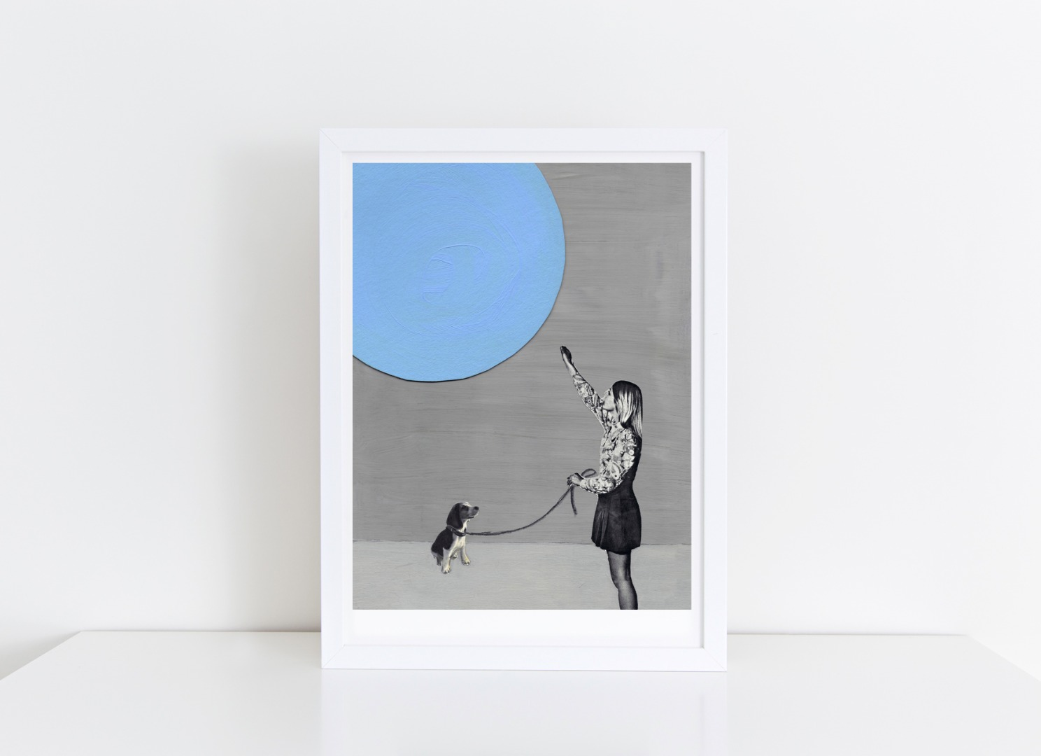 Blue Moon Collage Poster Kunstdruck A4