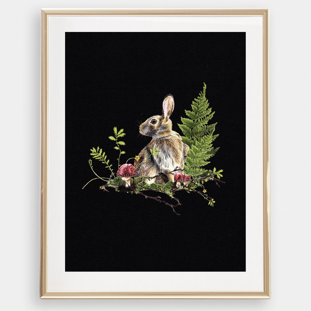 Hase im Wald , Poster, Kunstdruck, A4, Buntstiftzeichnung - 1
