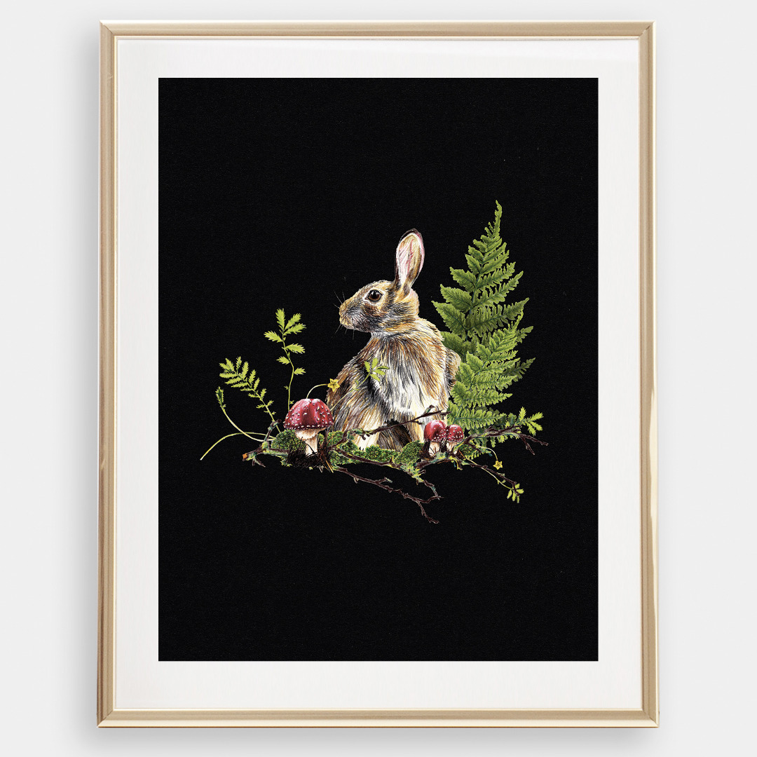 Hase im Wald Poster Kunstdruck A4 - 1