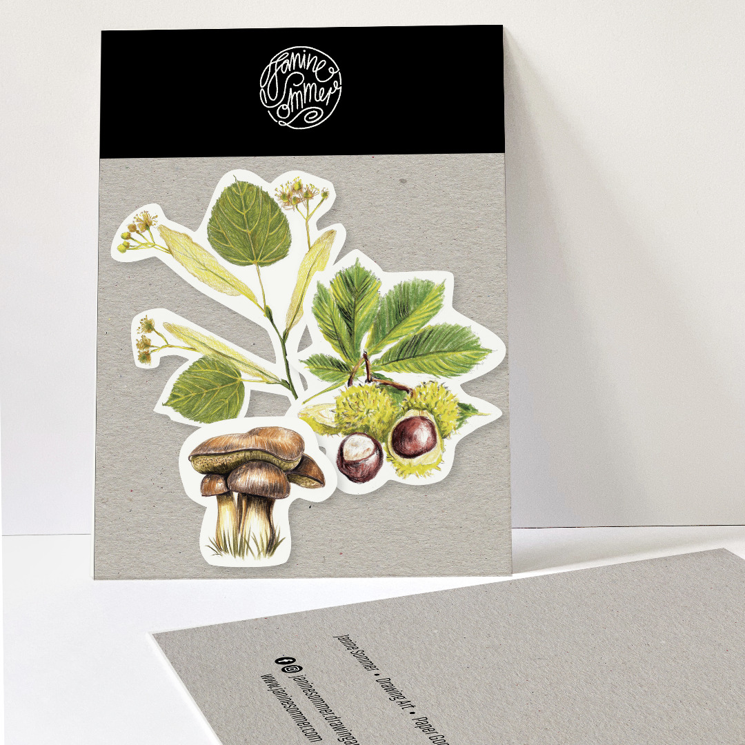 3 Sticker Blätter, Aufkleber Kastanien, Pilz, Lindenblatt - 1
