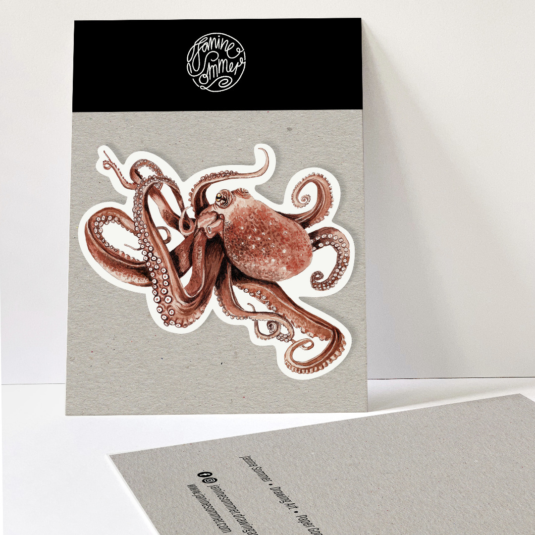 1 Sticker Octopus Aufkleber