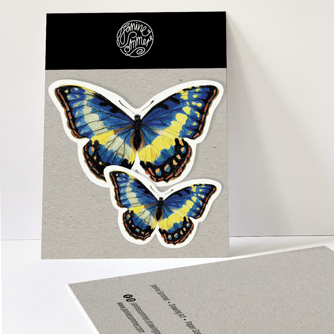 2 Sticker Schmetterlinge blau
