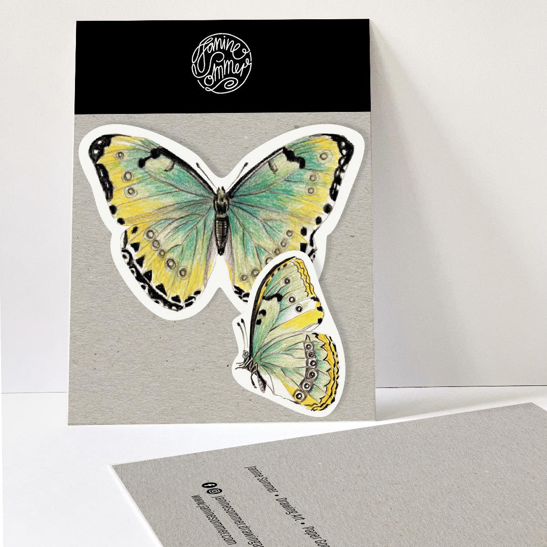 2 Sticker Schmetterlinge grün/gelb