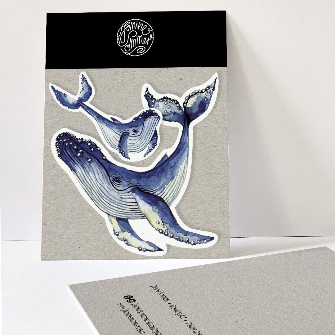 2 Sticker Wale Aufkleber
