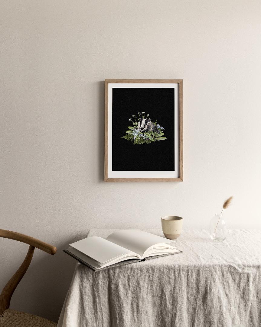 Dachs im Wald Poster Kunstdruck DIN