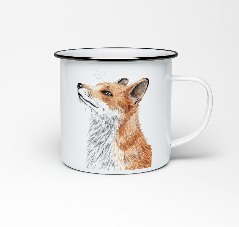Emailletasse mit Fuchsprint Emaillebecher Tasse Fuchs