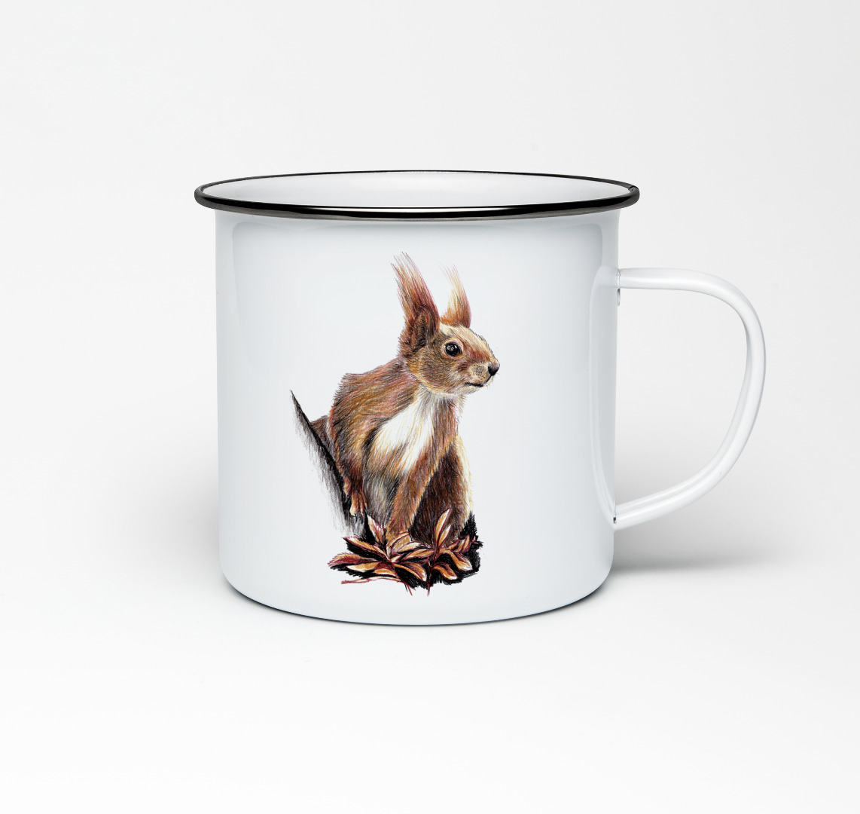 Emailletasse mit Eichhörnchenprint Emaillebecher Tasse Eichhörnchen