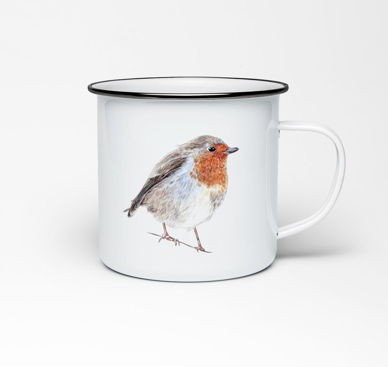 Emailletasse mit Vogelprint Emaillebecher Tasse Rotkehlchen - 1