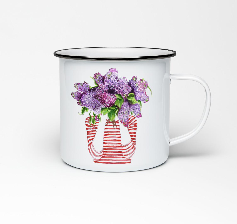 Emailletasse mit Fliederprint Emaillebecher Tasse Fliederstrauß Flieder - 1
