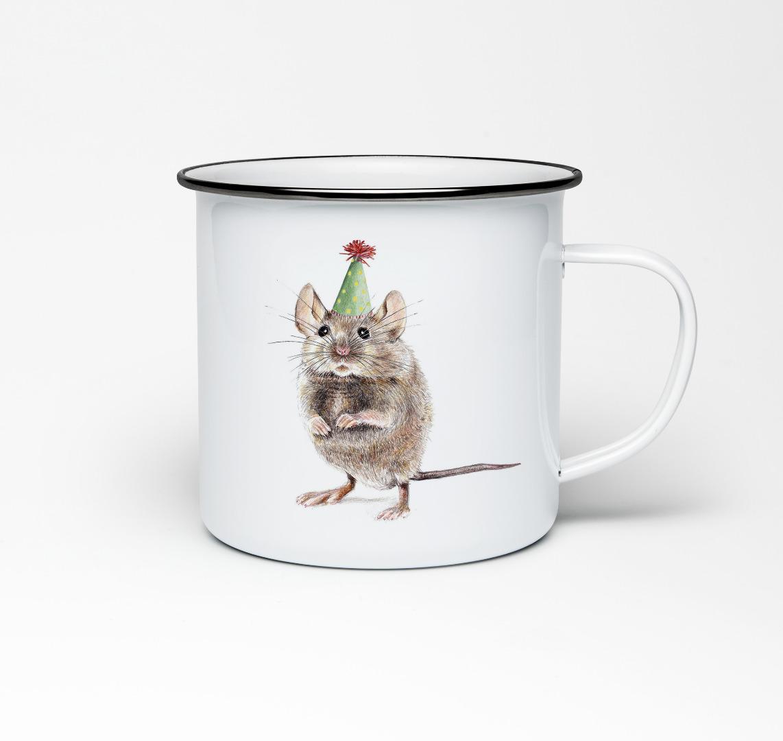 Emailletasse mit Mausprint Emaillebecher Tasse Maus Partymaus - 1