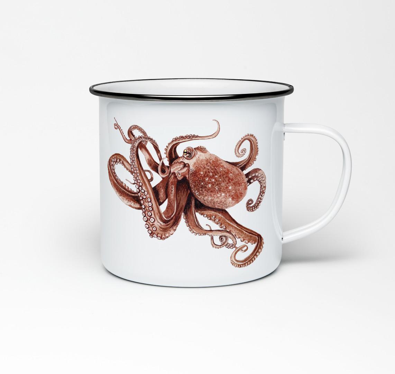 Emailletasse mit Oktopusprint Emaillebecher Tasse Oktopus