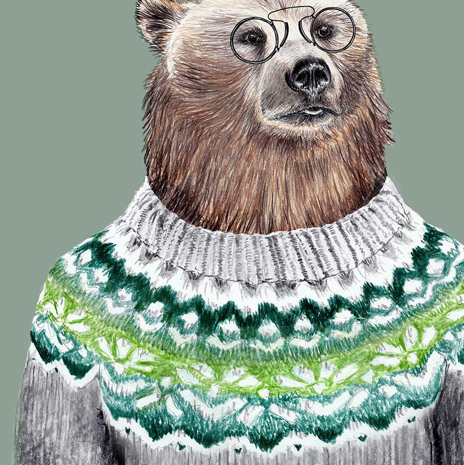 Mein Freund der Bär, Poster, Kunstdruck, A4, Bärenzeichnung