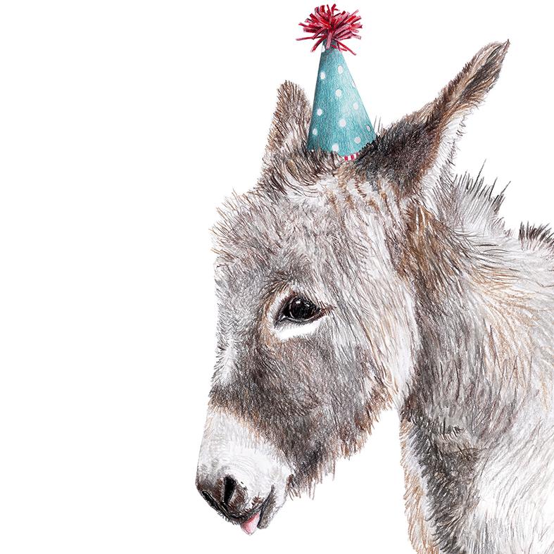 Zeichnung Esel Partyesel Poster Kunstdruck A4