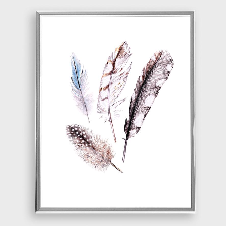 Zeichnung Federn Poster Kunstdruck A4