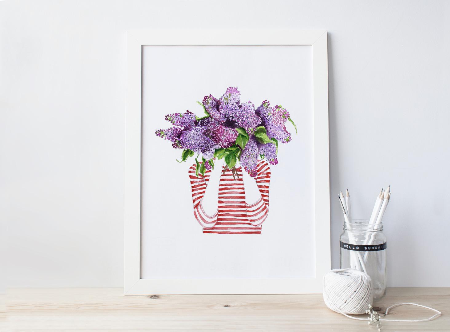 Ich traeume von Flieder Poster Kunstdruck Flieder Fliederstrauss Fruehling