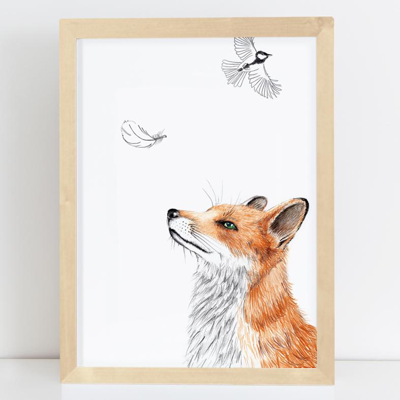 Zeichnung Fuchs mit Feder, Poster, Kunstdruck, A4