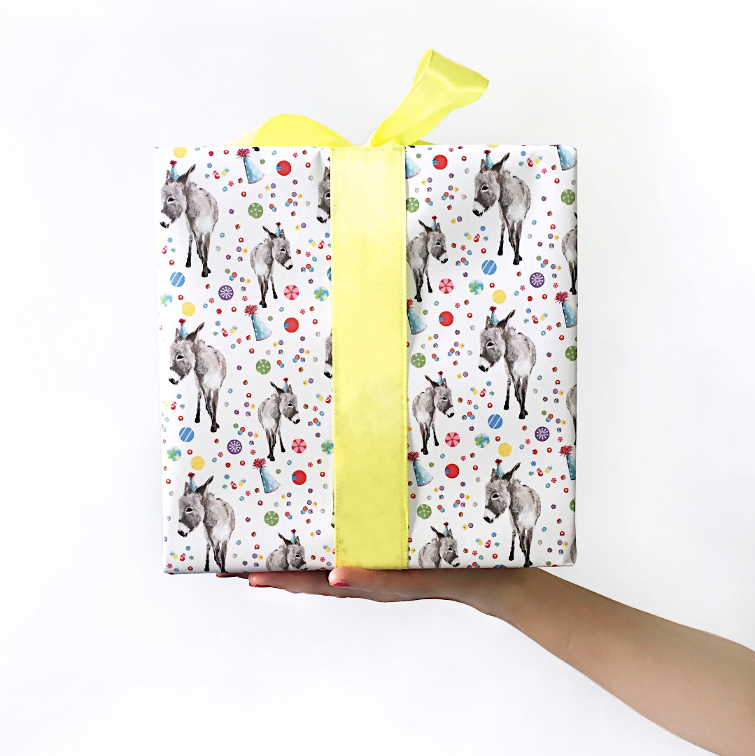 3 Bögen Geschenkpapier Partyesel
