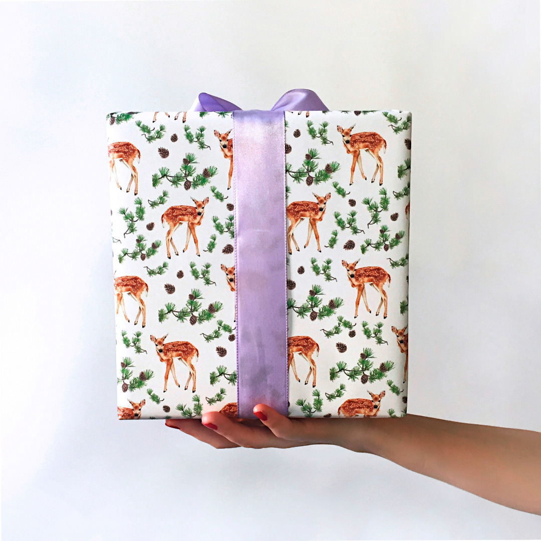 3 Bögen Geschenkpapier Rehlein 3