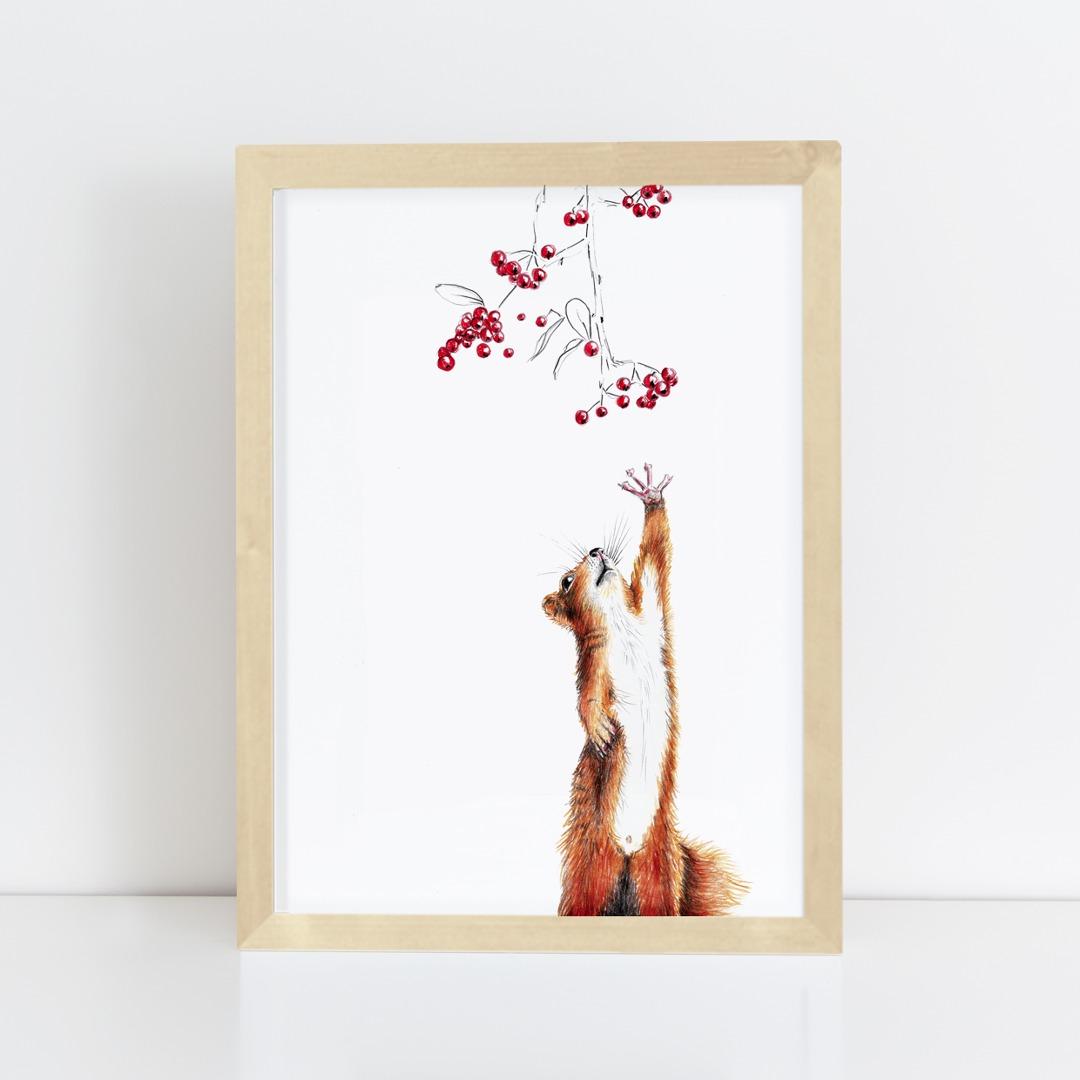 Zeichnung Eichhörnchen Poster Kunstdruck A4 3