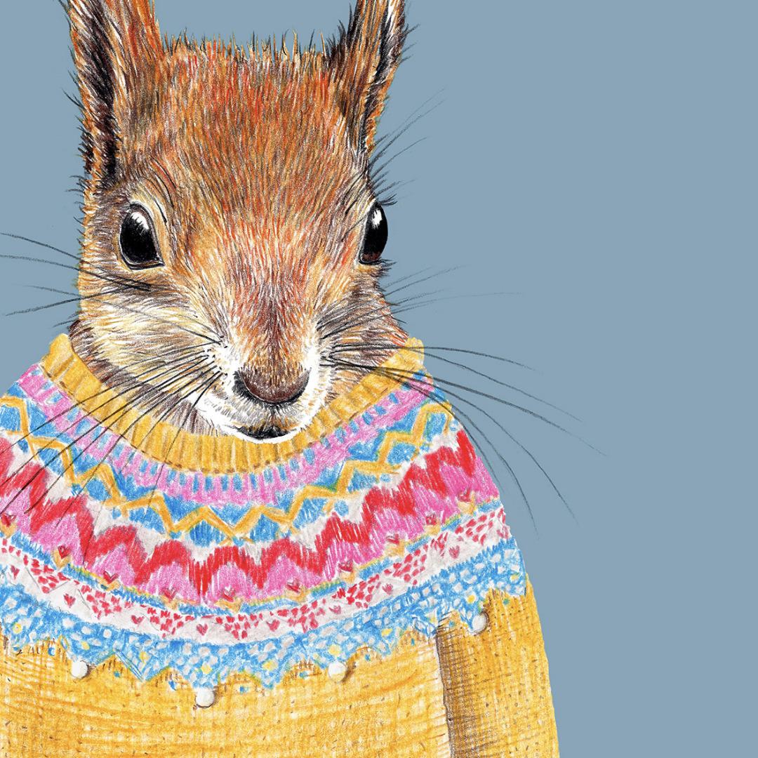 Ein Eichhörnchen wie du und ich , Poster, Kunstdruck, A4, Eichhörnchenzeichnung