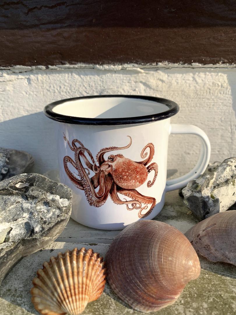 Emailletasse mit Octopusprint Emaillebecher Tasse Octopus