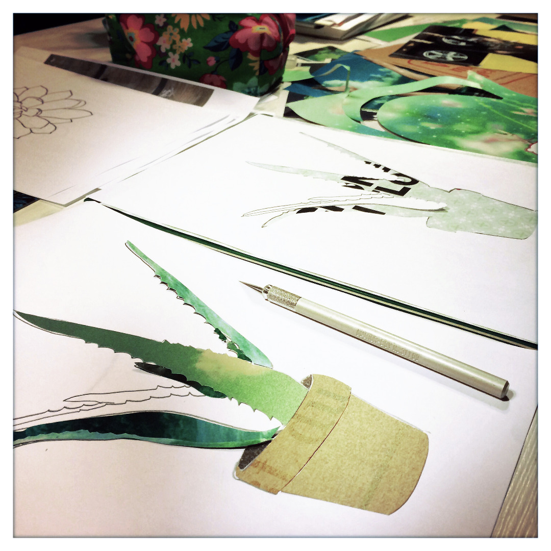 Collage Aloevera Kunstdruck Pflanzenposter - 4