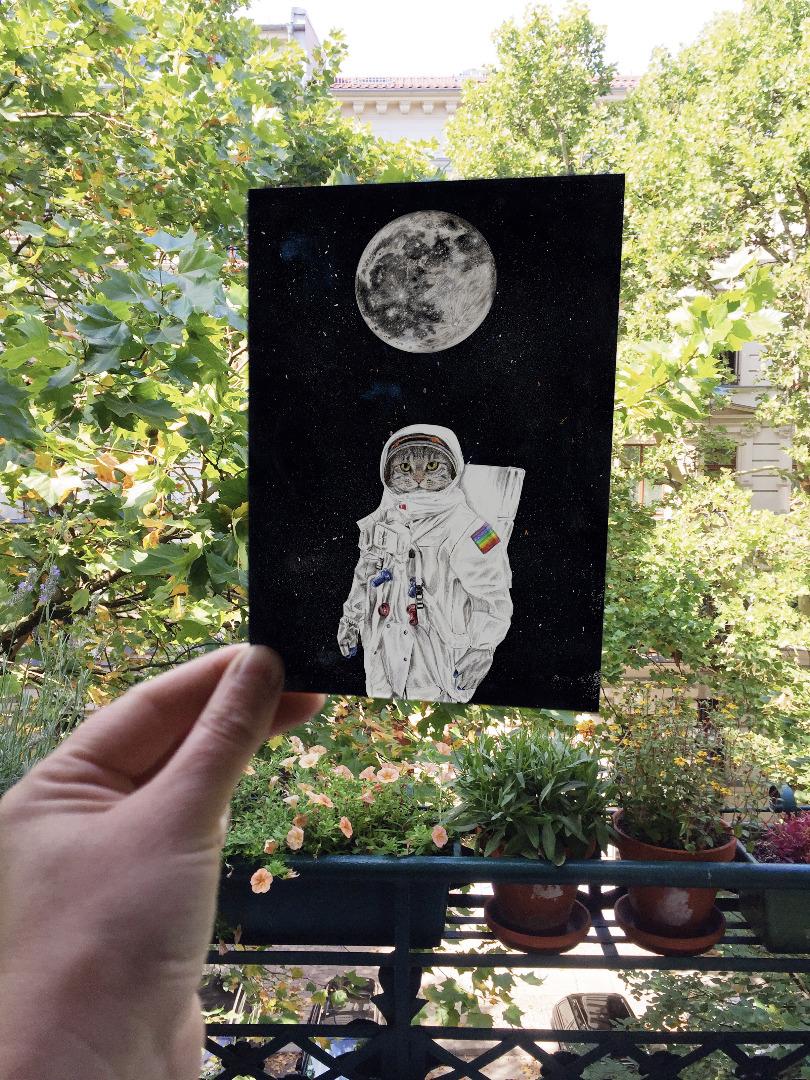 Grußkarte Spacecat, Geburtstagskarte, Karte mit Katze im Weltall - 4