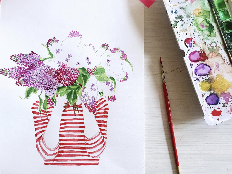 Ich träume von Flieder , Poster, Kunstdruck, Flieder, Fliederstrauß, Frühling - 5