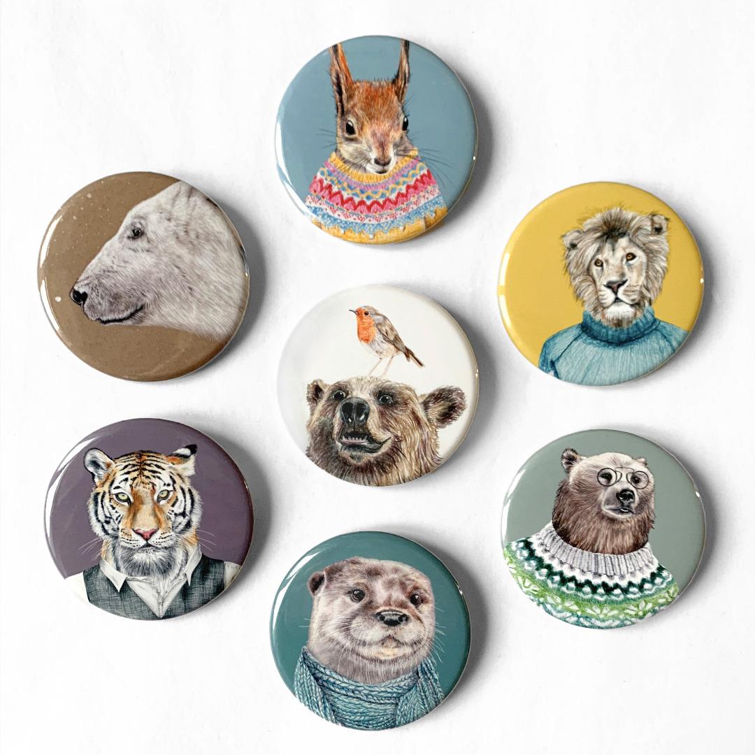 großer Pin / Anstecker Tier-Porträts
