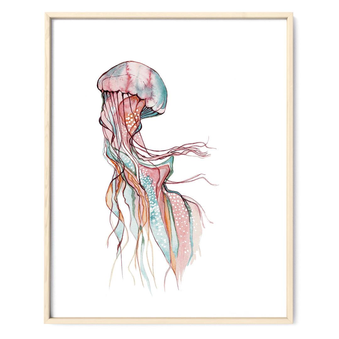 Jellyfish Qualle Poster Kunstdruck Zeichnung Meerestier