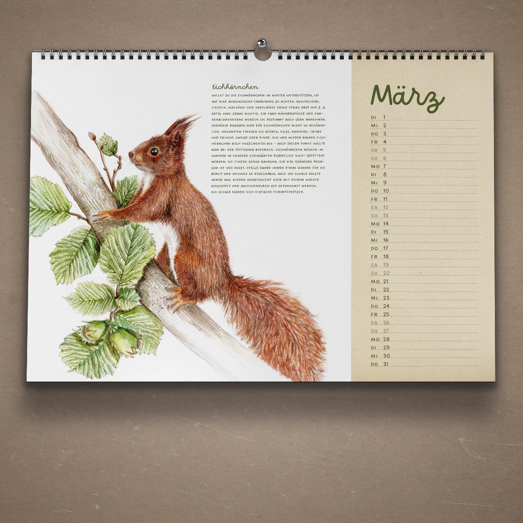 Tiere im Garten Kalender Wandkalender VORVERKAUF