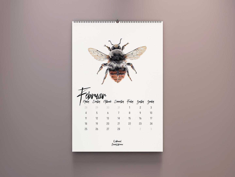 Wandkalender 2020, Kalender 2020 kaufen, Hummel Zeichnungen, Hummelarten, Kunstdrucke kaufen, Wildbienen, Illustrationen Janine Sommer - 3