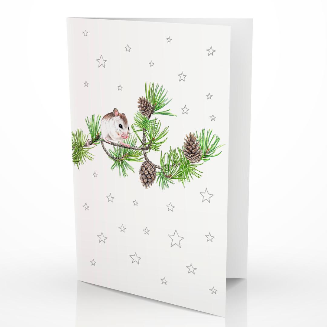 Weihnachtskarte Maus auf Kiefernzweig Grußkarte 2