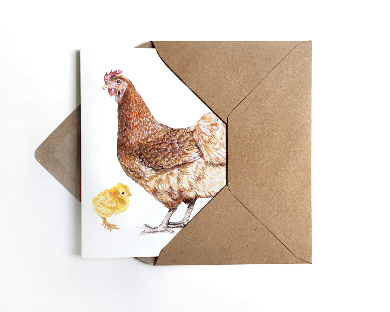 Grußkarte Huhn mit Küken Osterkarte