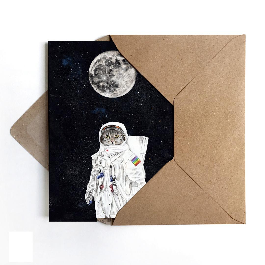 Grußkarte Spacecat, Geburtstagskarte, Karte mit Katze im Weltall - 1