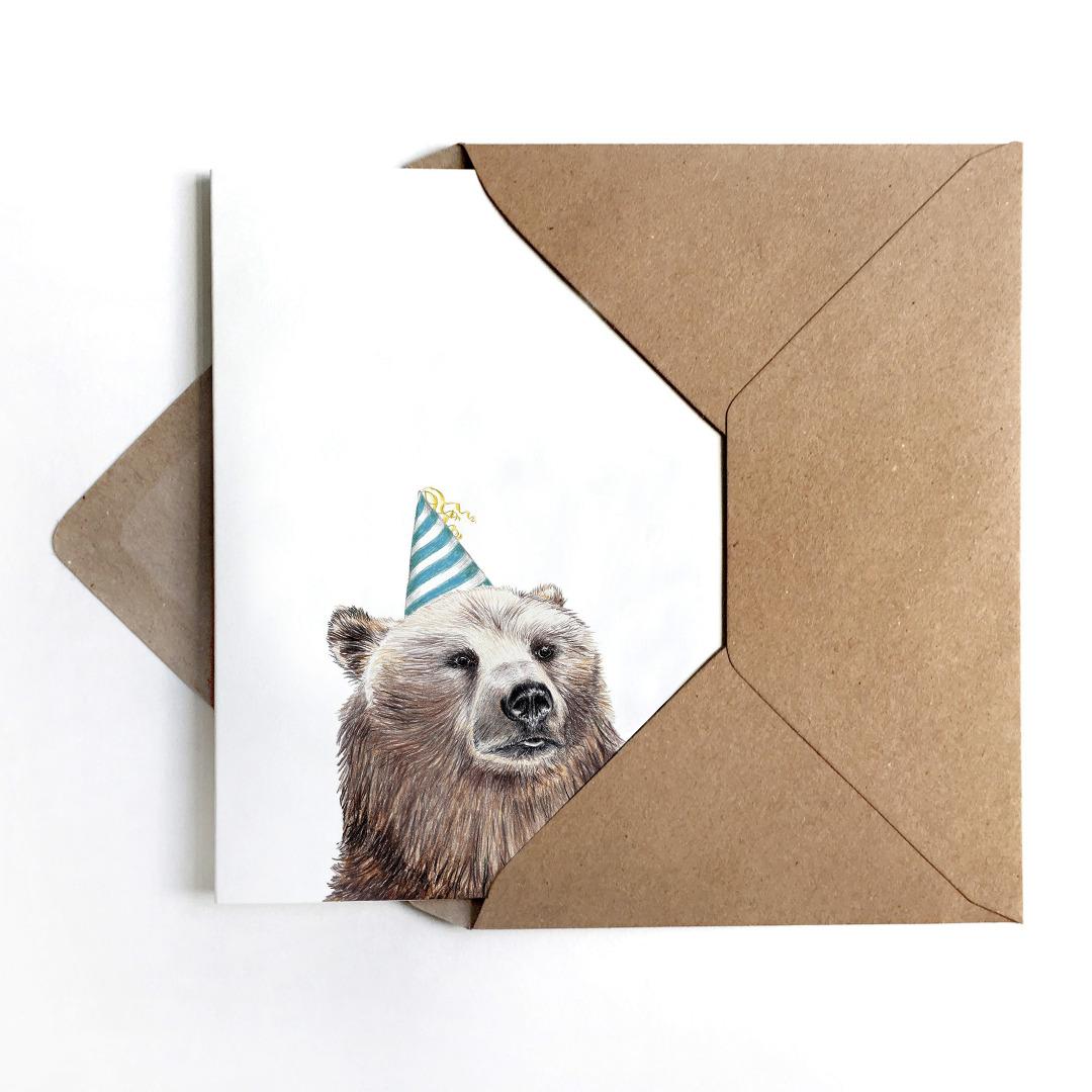 Grußkarte Partybär, Geburtstagskarte