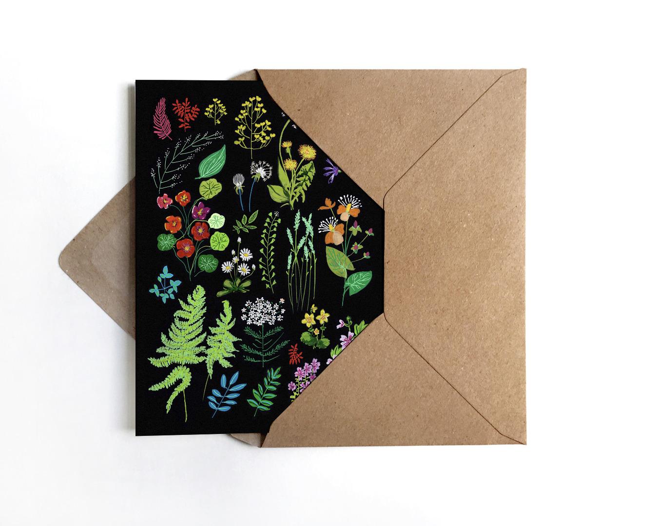 Grußkarte Wald und Wiesenblumen - 1